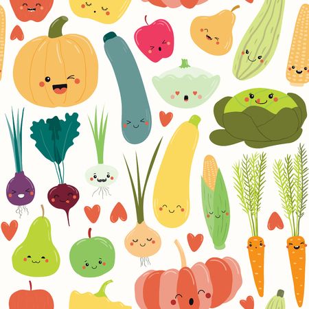 Seamless repeat pattern with cute funny fruits and vegetables with kawaii faces. Hand drawn vector illustration. Flat style design. Concept for autumn harvest, textile print, wallpaper, wrapping paper Foto de archivo - 111855226