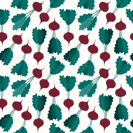 Seamless repeat pattern with beetroots. Hand drawn vector illustration. Flat style design. Concept for autumn harvest, healthy eating, textile print, wallpaper, wrapping paper. Ilustração