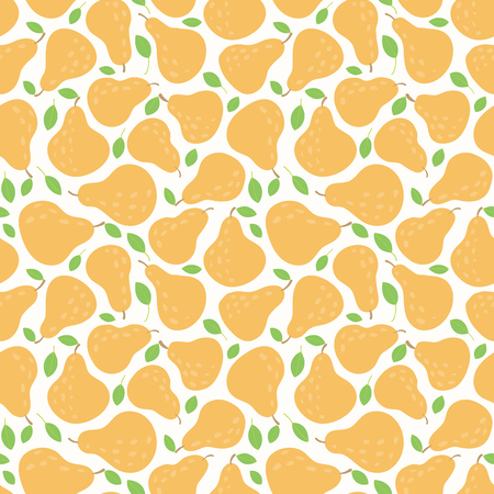 Seamless repeat pattern with pears. Hand drawn vector illustration. Flat style design. Concept for autumn harvest, healthy eating, textile print, wallpaper, wrapping paper. Illustration