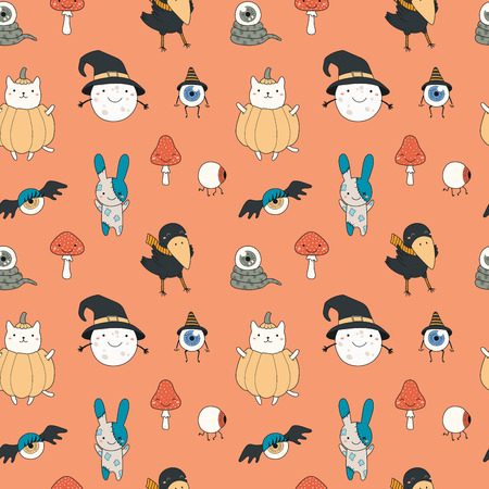 Seamless repeat pattern with different kawaii cartoon characters on red. Hand drawn vector illustration. Line drawing. Design concept for Halloween party, textile print, wallpaper, wrapping paper.