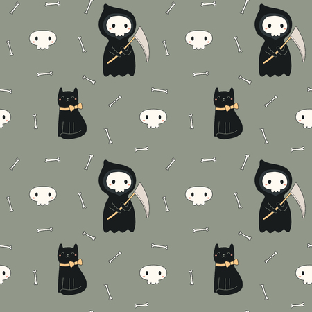 Seamless repeat pattern with kawaii death, black cat on gray. Hand drawn vector illustration. Line drawing. Design concept for Halloween party, textile print, wallpaper, wrapping paper. Иллюстрация