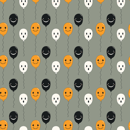 Seamless repeat pattern with kawaii balloons with faces on gray. Hand drawn vector illustration. Line drawing. Design concept for Halloween party, textile print, wallpaper, wrapping paper. Illustration