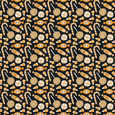 Seamless repeat pattern with different candy on black. Hand drawn vector illustration. Line drawing. Design concept for Halloween party, textile print, wallpaper, wrapping paper.