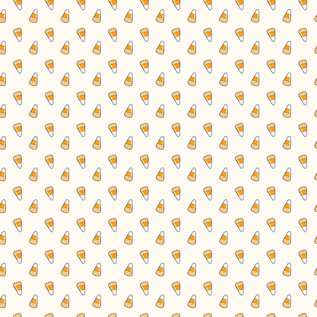 Seamless repeat pattern with corn candy on white. Hand drawn vector illustration. Line drawing. Design concept for Halloween party, textile print, wallpaper, wrapping paper. Ilustração