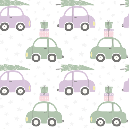 Seamless repeat pattern with cars carrying tree, presents, on a white background. Hand drawn vector illustration. Flat style design. Concept for Christmas textile print, wallpaper, wrapping paper.