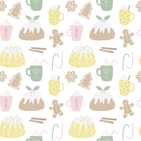 Seamless repeat pattern with different Christmas sweets, on a white background. Hand drawn vector illustration. Flat style design. Concept for Christmas textile print, wallpaper, wrapping paper. Standard-Bild - 111654006