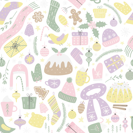 Seamless repeat pattern with different Christmassy elements, on a white background. Hand drawn vector illustration. Flat style design. Concept for Christmas textile print, wallpaper, wrapping paper.