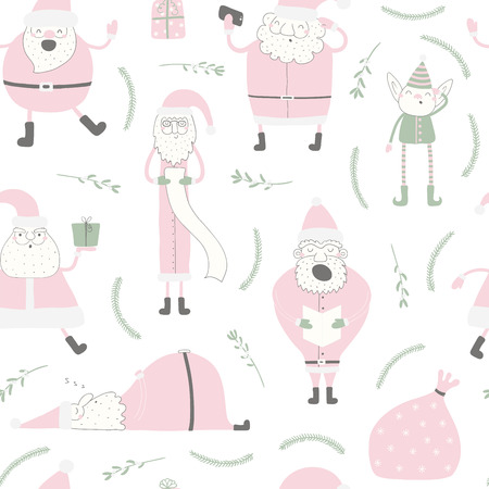 Seamless repeat pattern with different Santa Clauses, elf, on a white background. Hand drawn vector illustration. Flat style design. Concept for Christmas textile print, wallpaper, wrapping paper.