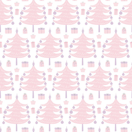 Seamless repeat pattern with tree, presents, on a white background. Hand drawn vector illustration. Flat style design. Concept for Christmas textile print, wallpaper, wrapping paper.