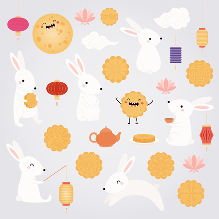 Mid autumn festival set with full moon, cute bunnies, lanterns, mooncakes, tea, lotus, Chinese text Mid Autumn. Isolated objects. Flat style vector illustration. Festive elements holiday celebration. Illustration