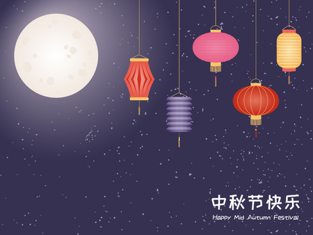 Mid autumn greeting card, poster, banner design with full moon, lanterns, typography, Chinese text Mid Autumn festival. Flat style vector illustration. Festive elements for holiday celebration.