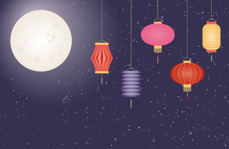 Mid autumn festival greeting card, poster, banner, background design with full moon, lanterns. Flat style vector illustration. Festive elements for holiday celebration. Illustration