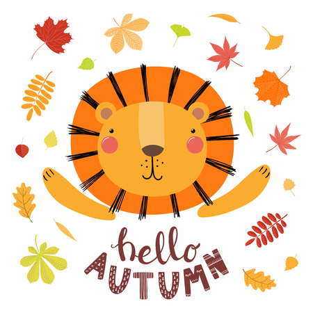 Hand drawn vector illustration of a cute lion, with colorful falling leaves, quote Hello autumn. Isolated objects on white. Scandinavian style flat design. Concept for children print. Иллюстрация