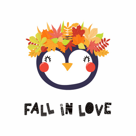 Hand drawn vector illustration of a cute penguin in a crown of autumn leaves, with quote Fall in love. Isolated objects on white. Scandinavian style flat design. Concept for children print.