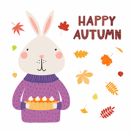 Hand drawn vector illustration of a cute bunny in sweater, with pumpkin pie, falling leaves, quote Happy autumn. Isolated objects on white. Scandinavian style flat design. Concept for children print.