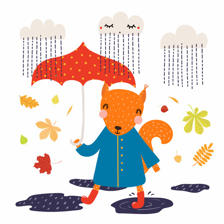 Hand drawn vector illustration of a cute squirrel in coat, boots, with umbrella, walking in the rain, autumn leaves. Isolated objects on white. Scandinavian style flat design. Concept children print. Stock Illustratie
