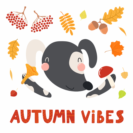 Hand drawn vector illustration of a cute dog with mushrooms, rowan, acorns, falling leaves, quote Autumn vibes. Isolated objects on white. Scandinavian style flat design. Concept for children print.