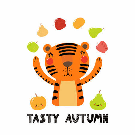 Hand drawn vector illustration of a cute tiger juggling apples, pears, with quote Tasty autumn. Isolated objects on white. Scandinavian style flat design. Concept for children print. Illustration