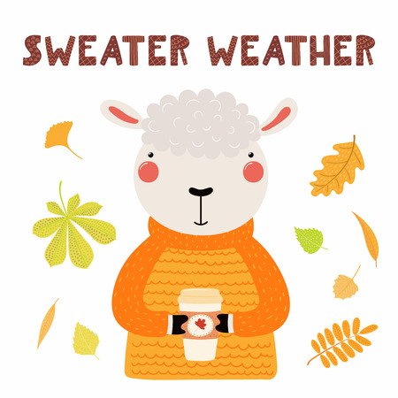 Hand drawn vector illustration of a cute sheep in sweater, with paper cup, autumn leaves, quote Sweater weather. Isolated objects on white. Scandinavian style flat design. Concept for children print. Illustration