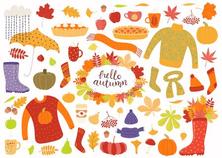 Big autumn set with leaves, acorns, food, pies, mugs, clothes, quote Hello Autumn. Isolated objects on white background. Hand drawn vector illustration. Flat style design. Concept for season change.  イラスト・ベクター素材