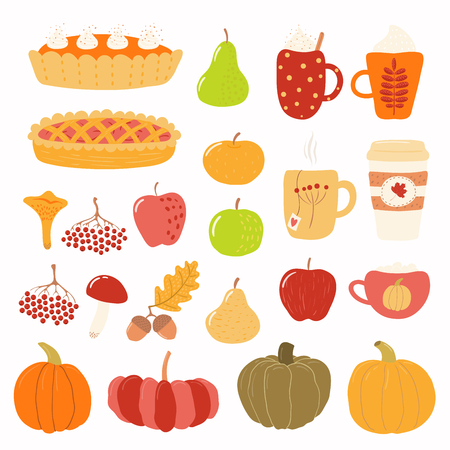 Big autumn set with rowan, acorns, mushrooms, pumpkins, apples, pears, pies, mugs. Isolated objects on white background. Hand drawn vector illustration. Flat style design. Concept for season change