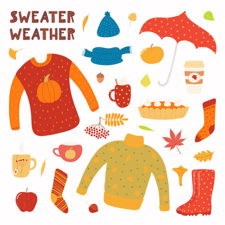 Big autumn set with leaves, sweater, muffler, hat, socks, umbrella, boots, pie, mugs. Isolated objects on white background. Hand drawn vector illustration. Flat style design. Concept for season change