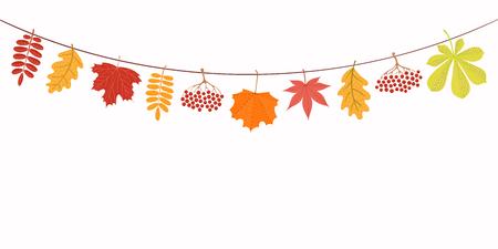 Ilustración de vector dibujado a mano con hojas de otoño colgando de una cuerda. Objetos aislados sobre fondo blanco. Diseño de estilo plano. Concepto de banner de temporada, cartel, tarjeta. Ilustración de vector