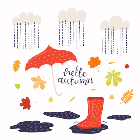 Illustration vectorielle dessinés à la main avec des bottes, des feuilles, un parapluie sous la pluie, lettrage citation Bonjour automne. Objets isolés sur fond blanc. Conception de style plat. Bannière saisonnière concept, affiche, carte.