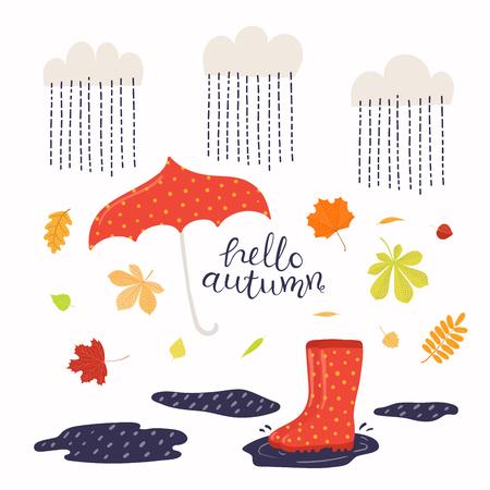 Ilustración de vector dibujado a mano con botas, hojas, paraguas bajo la lluvia, cita de letras Hola otoño. Objetos aislados sobre fondo blanco. Diseño de estilo plano. Concepto de banner de temporada, cartel, tarjeta.