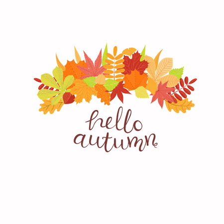 Hand drawn vector illustration with leaves, lettering quote Hello Autumn. Isolated objects on white background. Flat style design. Concept for seasonal banner, poster, card.