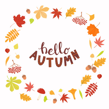 Hand drawn vector illustration with frame of leaves, lettering quote Hello Autumn. Isolated objects on white background. Flat style design. Concept for seasonal banner, poster, card.  イラスト・ベクター素材
