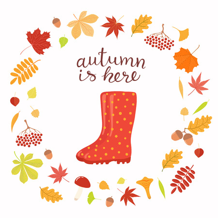 Hand drawn vector illustration with wellington boots, frame of leaves, lettering quote Autumn is here. Isolated objects on white background. Flat style design. Concept seasonal banner, poster, card