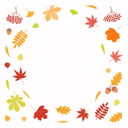 Hand drawn vector illustration with frame of autumn leaves, copy space. Isolated objects on white background. Flat style design. Concept for seasonal banner, poster, card.