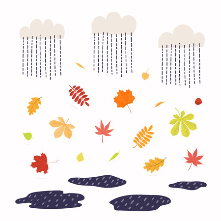 Hand drawn vector illustration with autumn leaves in the rain. Isolated objects on white background. Flat style design. Concept for seasonal banner, poster, card.