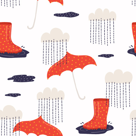 Seamless repeat pattern with wellington boots, umbrella, rain, on a white background. Hand drawn vector illustration. Flat style design. Concept for autumn textile print, wallpaper, wrapping paper. Illustration