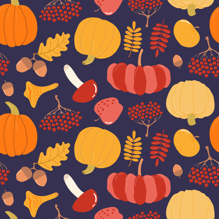 Seamless repeat pattern with pumpkin, apples, mushrooms, berries, acorns, on a blue background. Hand drawn vector illustration. Flat style design. Concept for autumn print, wallpaper, wrapping paper.