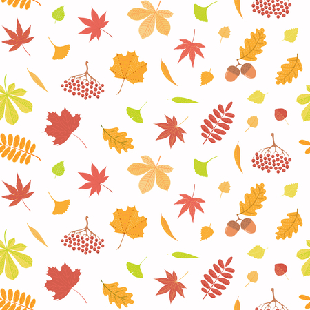 Seamless repeat pattern with different falling leaves, on a white background. Hand drawn vector illustration. Flat style design. Concept for autumn textile print, wallpaper, wrapping paper.