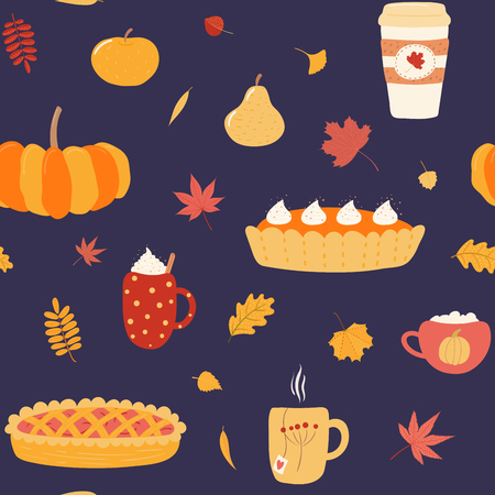 Seamless repeat pattern with pies, mugs, pumpkin, leaves, apples, on a blue background. Hand drawn vector illustration. Flat style design. Concept for autumn textile print, wallpaper, wrapping paper.