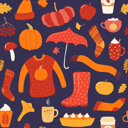 Seamless repeat pattern with warm clothes, umbrella, boots, food, leaves, on a blue background. Hand drawn vector illustration. Flat style design. Concept for autumn print, wallpaper, wrapping paper. Illustration