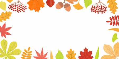Illustration vectorielle dessinés à la main avec cadre de feuilles d'automne, baies de sorbier, glands. Objets isolés sur fond blanc. Conception de style plat. Concept de bannière saisonnière, affiche, carte.