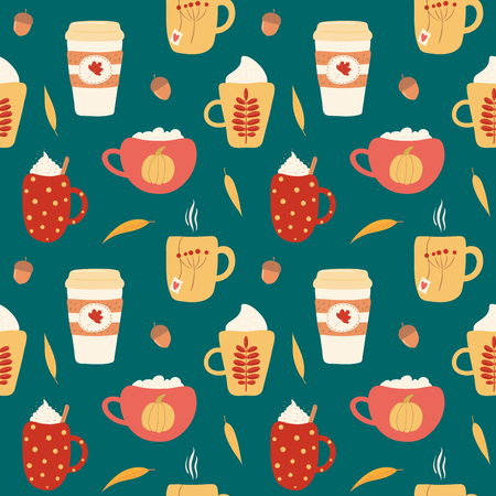 Seamless repeat pattern with different falling leaves, on a green background. Hand drawn vector illustration. Flat style design. Concept for autumn textile print, wallpaper, wrapping paper.