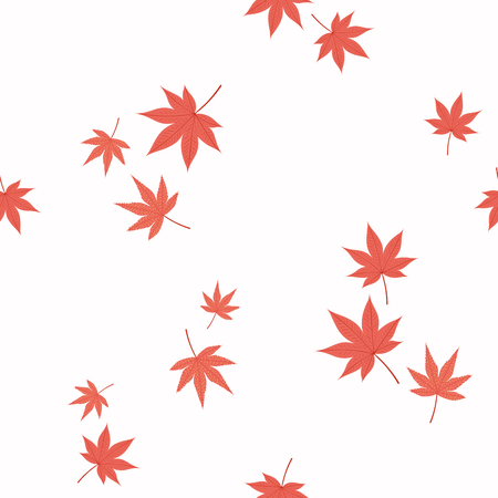 Seamless repeat pattern with falling Japanese maple leaves, on a white background. Hand drawn vector illustration. Flat style design. Concept for autumn textile print, wallpaper, wrapping paper. Illustration