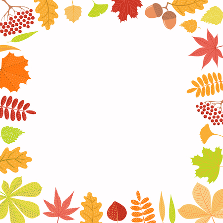 Hand drawn vector illustration with frame of autumn leaves, rowan berries, acorns. Isolated objects on white background. Flat style design. Concept for seasonal banner, poster, card.