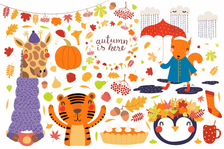 Big autumn set with cute animals penguin, giraffe, squirrel, tiger, leaves. Isolated objects on white background. Hand drawn vector illustration. Scandinavian style flat design. Concept for kids print