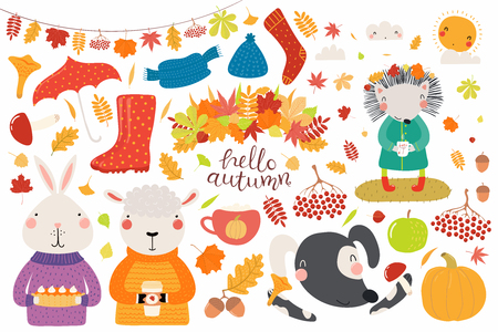 Big autumn set with cute animals sheep, bunny, dog, hedgehog, leaves, food. Isolated objects on white background. Hand drawn vector illustration. Scandinavian style flat design. Concept for kids print