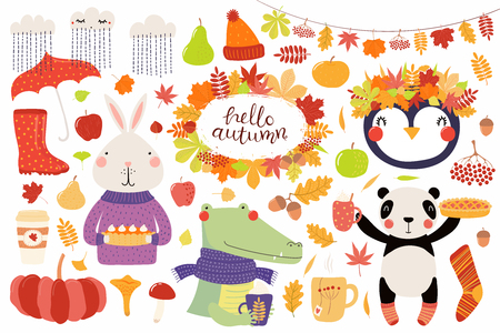 Big autumn set with cute animals panda, penguin, bunny, crocodile, leaves. Isolated objects on white background. Hand drawn vector illustration. Scandinavian style flat design. Concept for kids print.