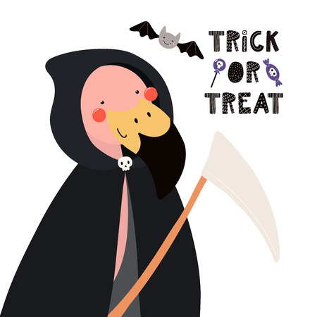 Hand drawn vector illustration of a cute funny flamingo in a death Halloween costume, with text Trick or treat. Isolated objects on white. Scandinavian style flat design. Concept for children print.