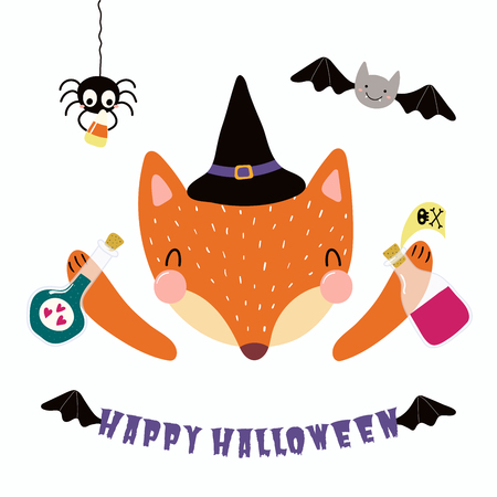 Hand drawn vector illustration of a cute funny fox in a witch costume, with spider, bat, text Happy Halloween. Isolated objects on white. Scandinavian style flat design. Concept for children print.