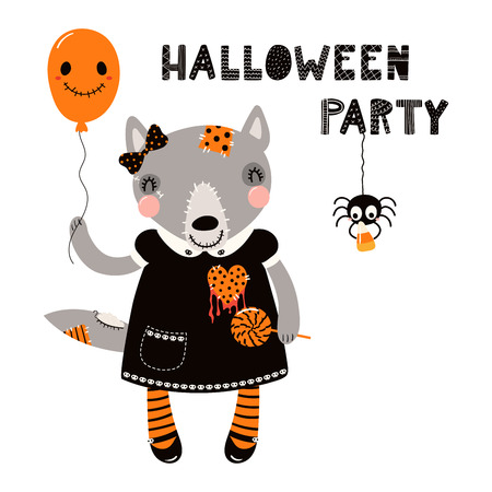 Hand drawn vector illustration of a cute funny wolf in a creepy doll costume, with text Halloween party. Isolated objects on white. Scandinavian style flat design. Concept for children print. Vettoriali