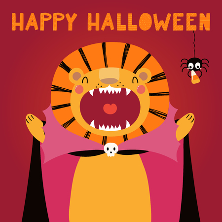 Hand drawn vector illustration of a cute funny lion in a vampire costume, with text Happy Halloween. Isolated objects. Scandinavian style flat design. Concept for children print, party invitation. Illustration